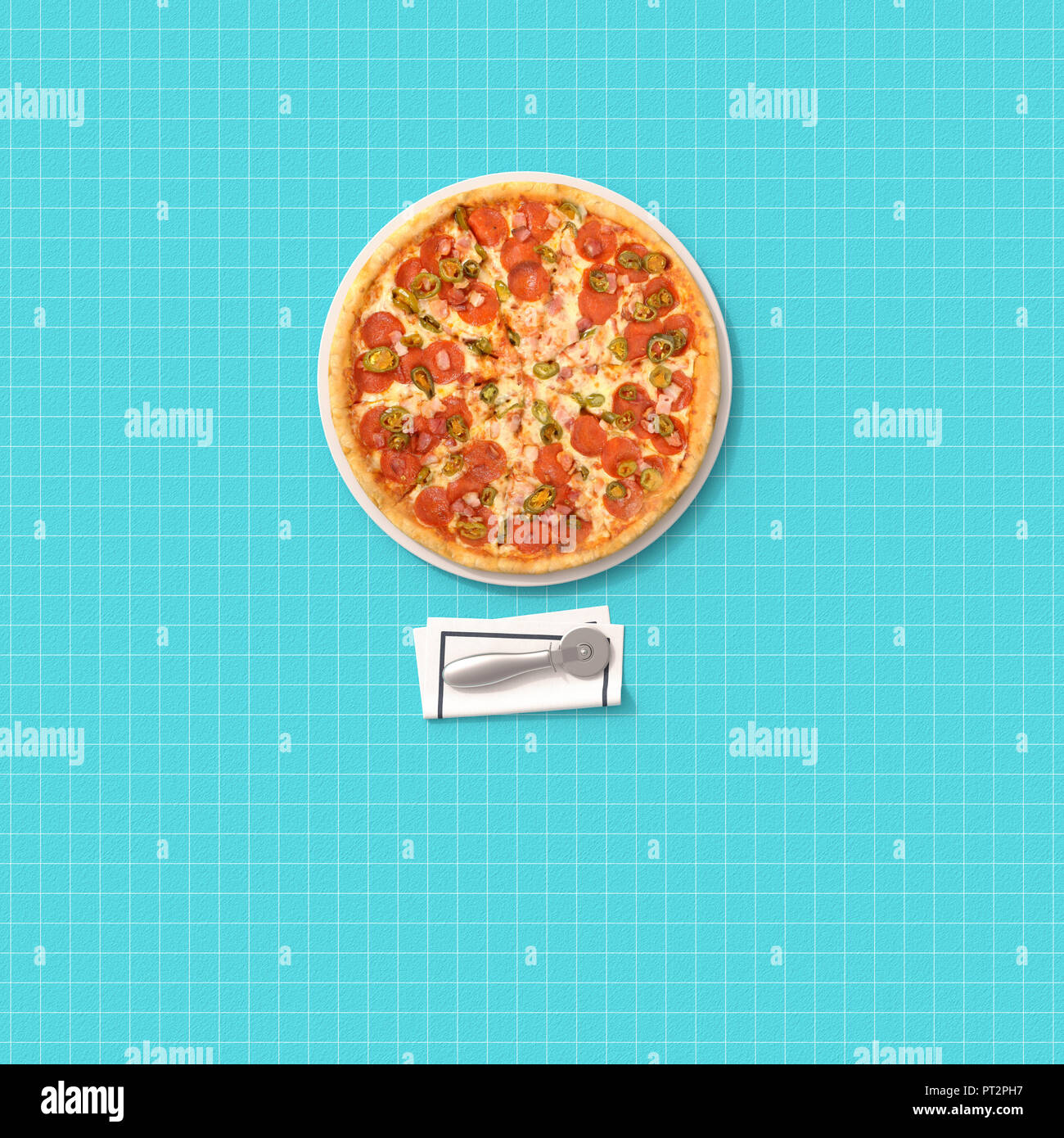 3D rendering, Pizza and cutter on chequered table cloth - Stock Image