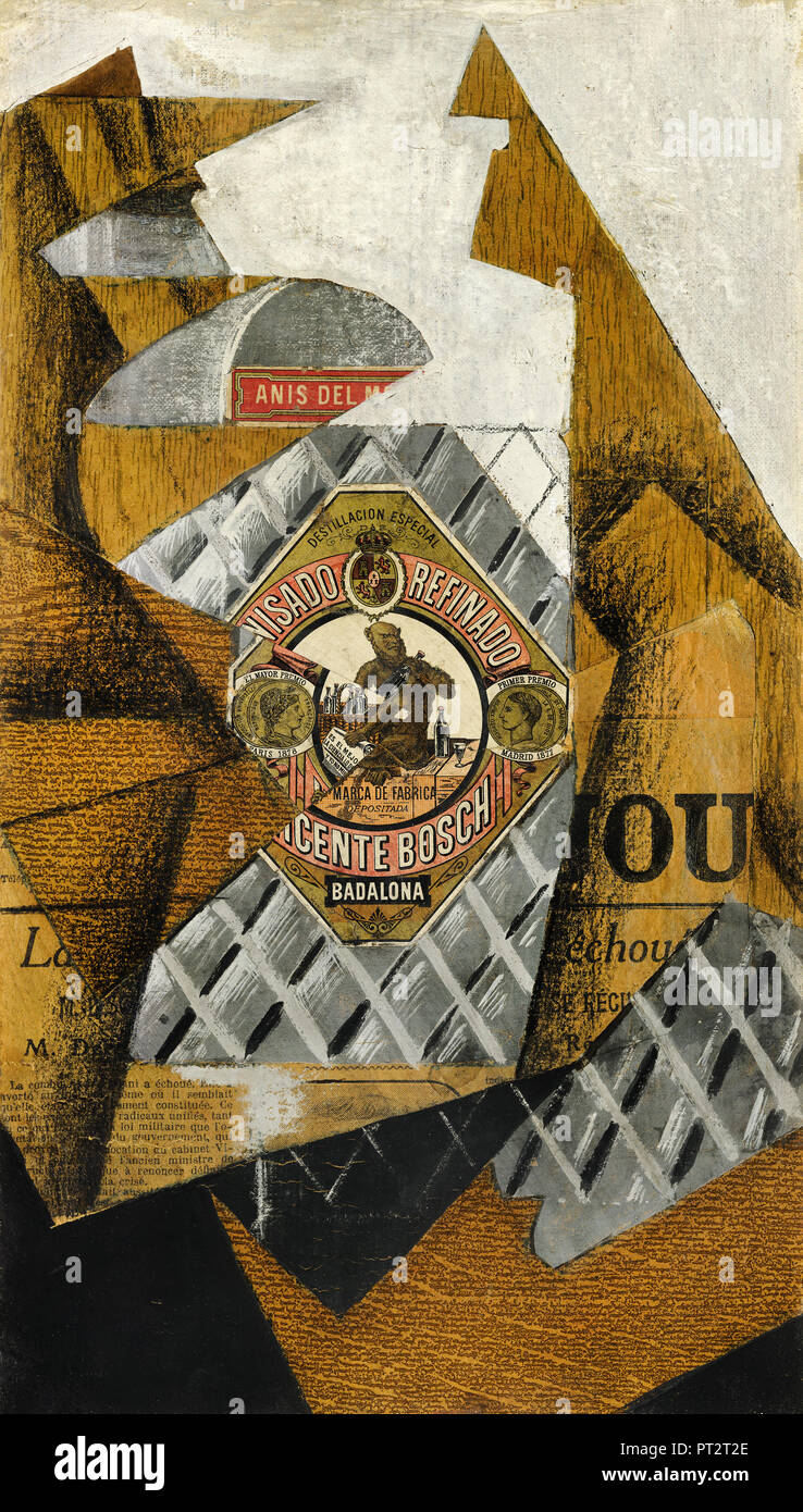 Juan Gris, The Bottle of Anís del Mono 1914 Oil collage and graphite on canvas, Museo Nacional Centro de Arte Reina Sofía, Madrid, Spain. - Stock Image