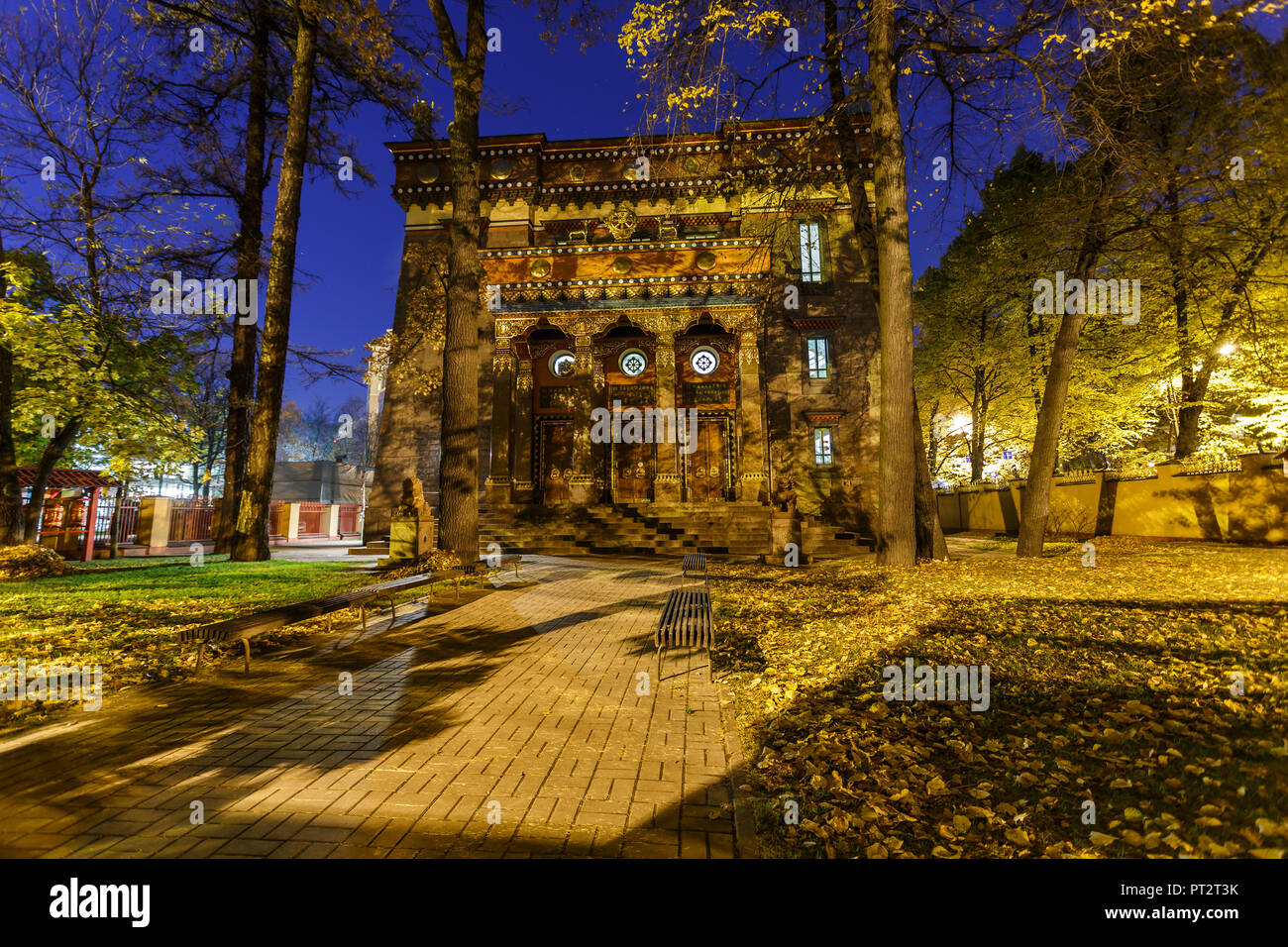 Building of St. Petersburg Buddhist temple 'Datsan Gunzehoyney'. Night view - Stock Image