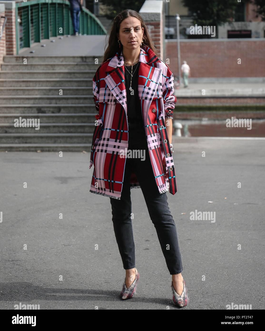 MILAN, Italy- September 19 2018: Erika Boldrin on the street during the Milan Fashion Week. - Stock Image