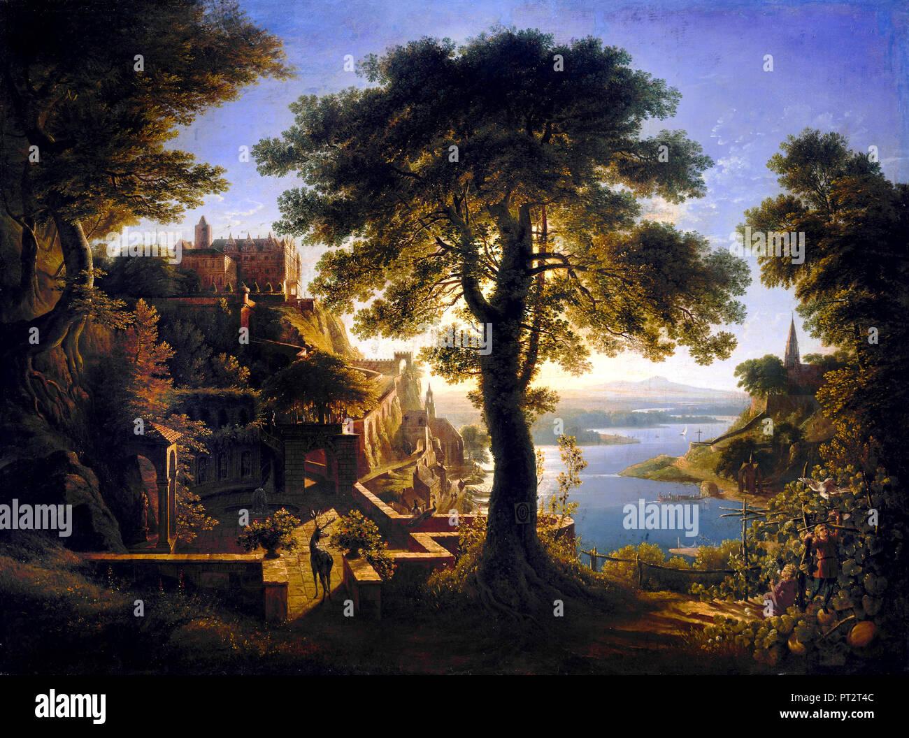 Karl Friedrich Schinkel, Castle by the River 1820 Oil on canvas, Alte Nationalgalerie, Berlin, Germany. - Stock Image