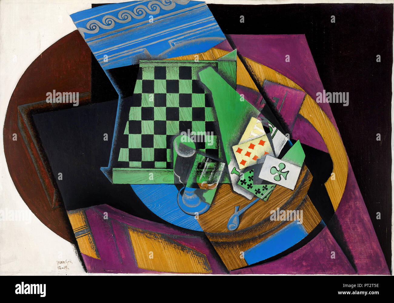 Juan Gris, Checkerboard and Playing Cards 1915 Oil on canvas, National Gallery of Australia. - Stock Image