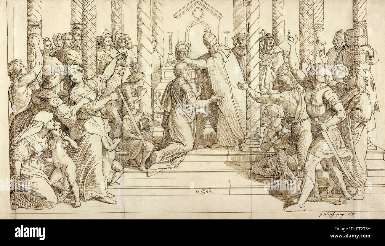 Julius Schnorr von Carolsfeldres, The Coronation of Charlemagne, 1840 Brown ink over graphite, The J. Paul Getty Museum, Los Angeles, USA. - Stock Image