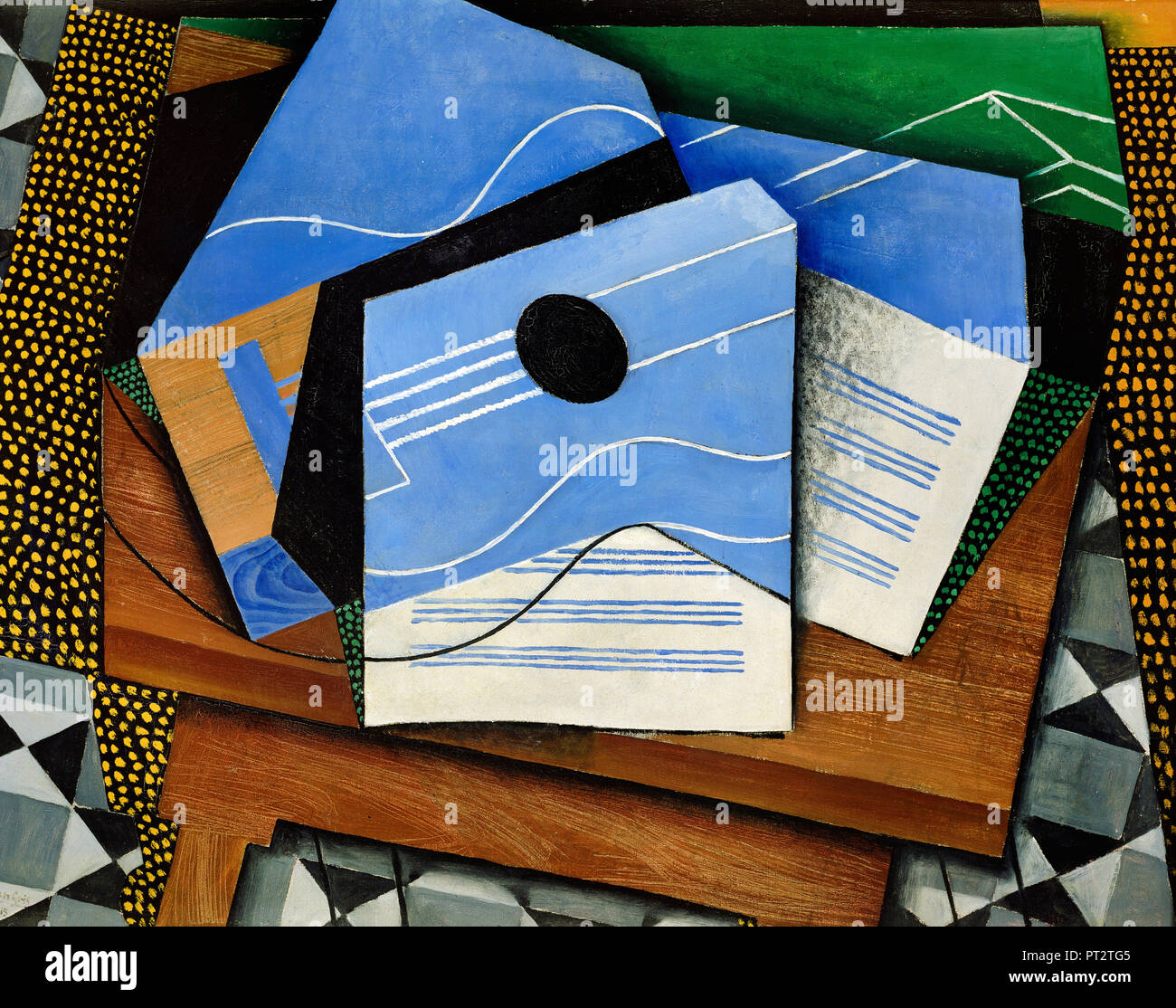 Juan Gris, Guitar on a Table 1915 Oil on canvas, Kroller-Muller Museum, Otterlo, Netherlands. - Stock Image