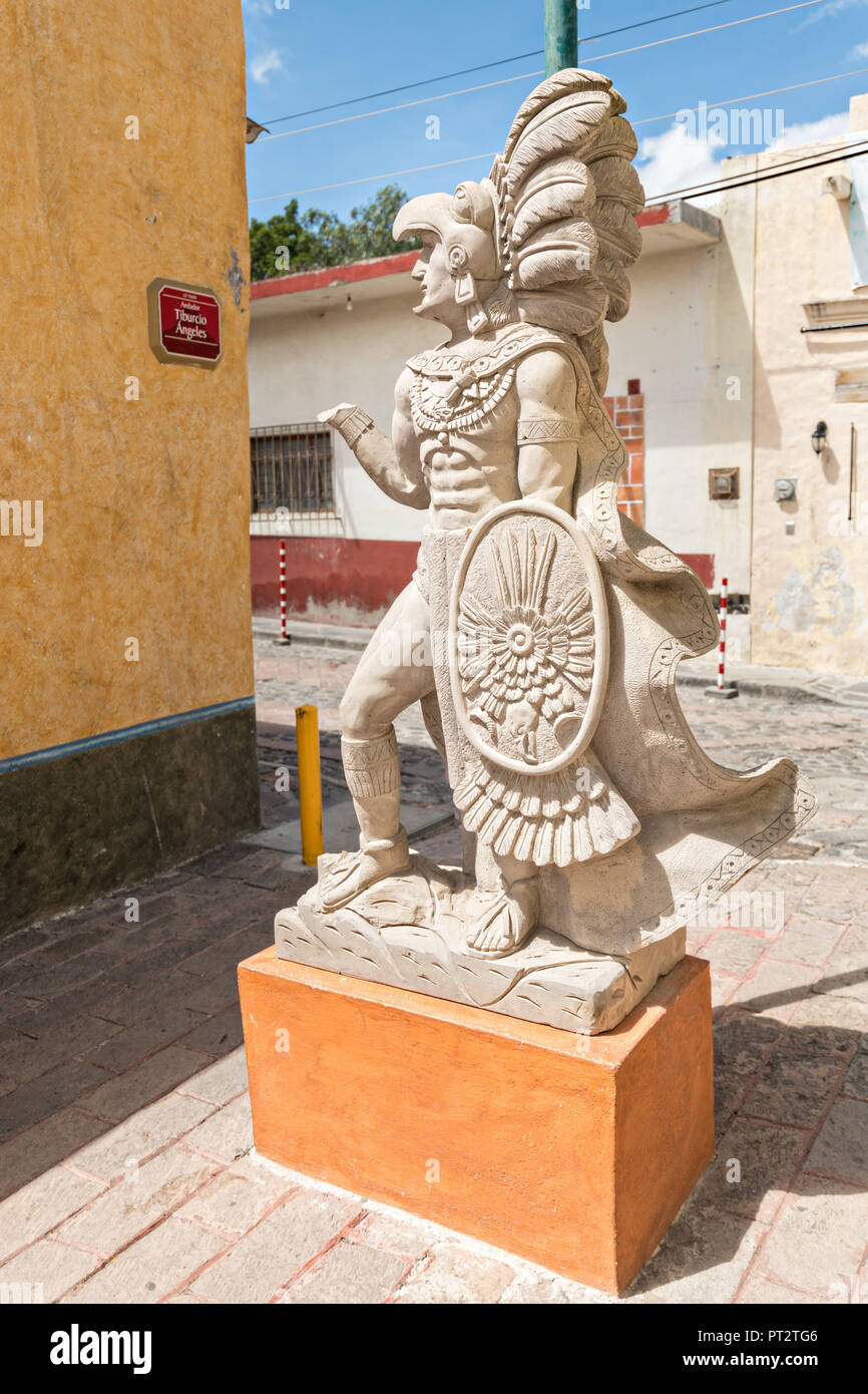 A Statue Of A Otomi Chichimeca Indian Warrior In The Beautiful