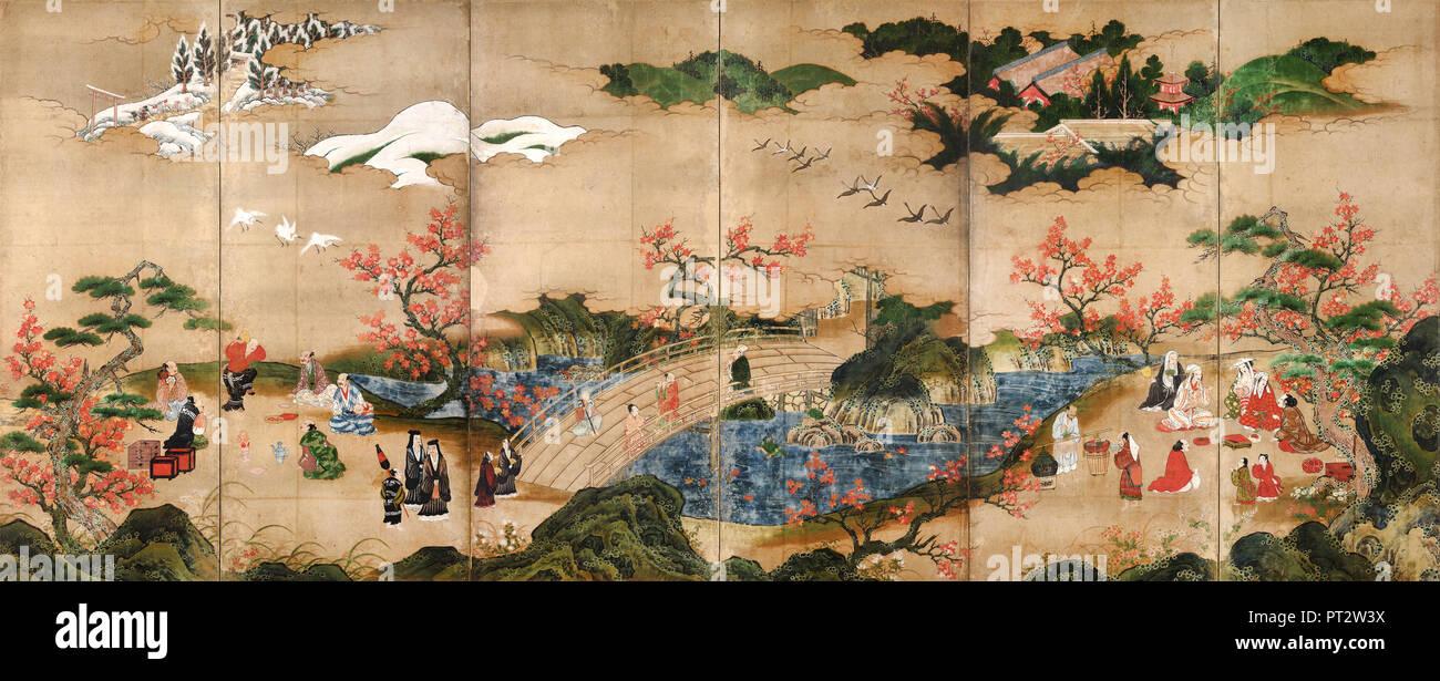 Kano Hideyori, Maple Viewers, 16th century, Color on paper, Tokyo National Museum, Japan. - Stock Image