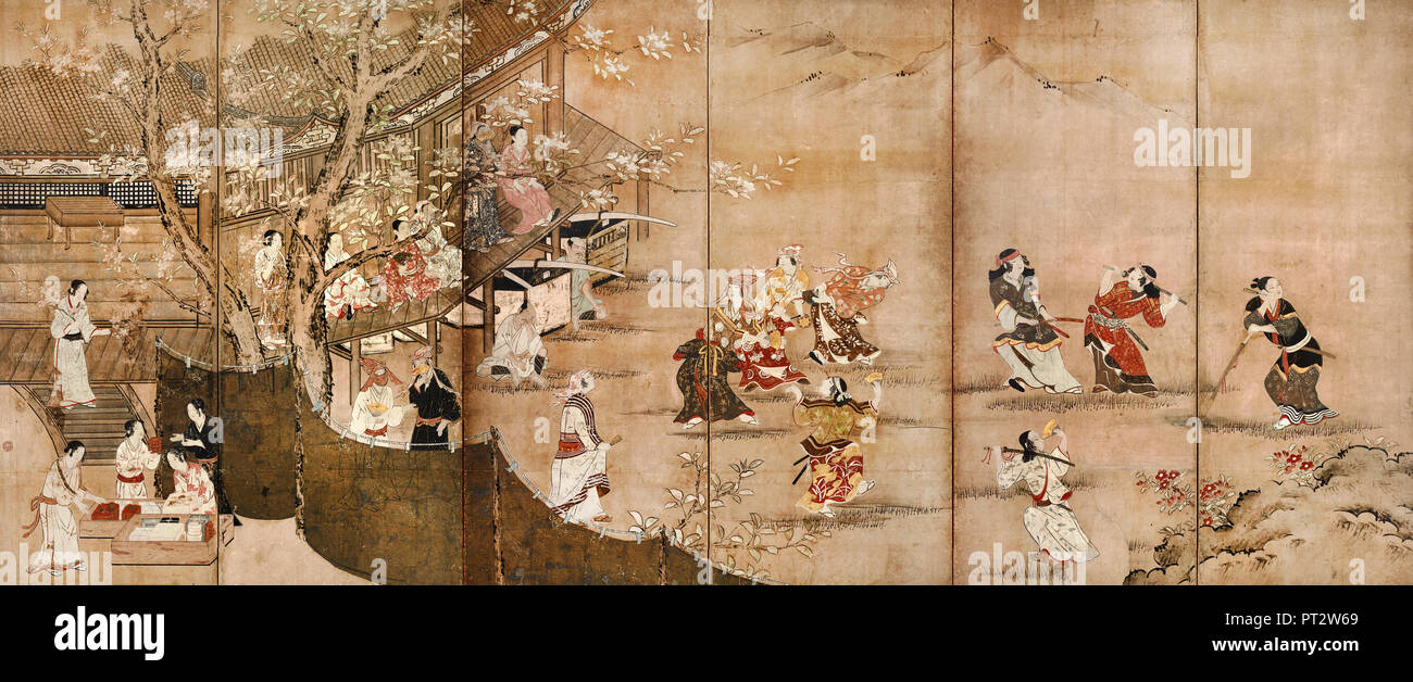 Kano Naganobu, Merrymaking Under the Cherry Blossoms, 17th century, Color on paper, Tokyo National Museum, Japan. - Stock Image