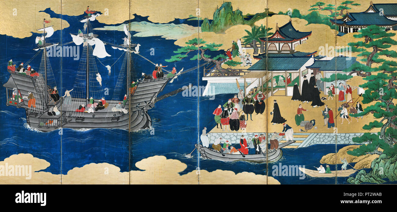 Kano Sanraku, Important Cultural Property Namban Screens, 17th century, Suntory Museum of Art, Osaka, Japan. - Stock Image