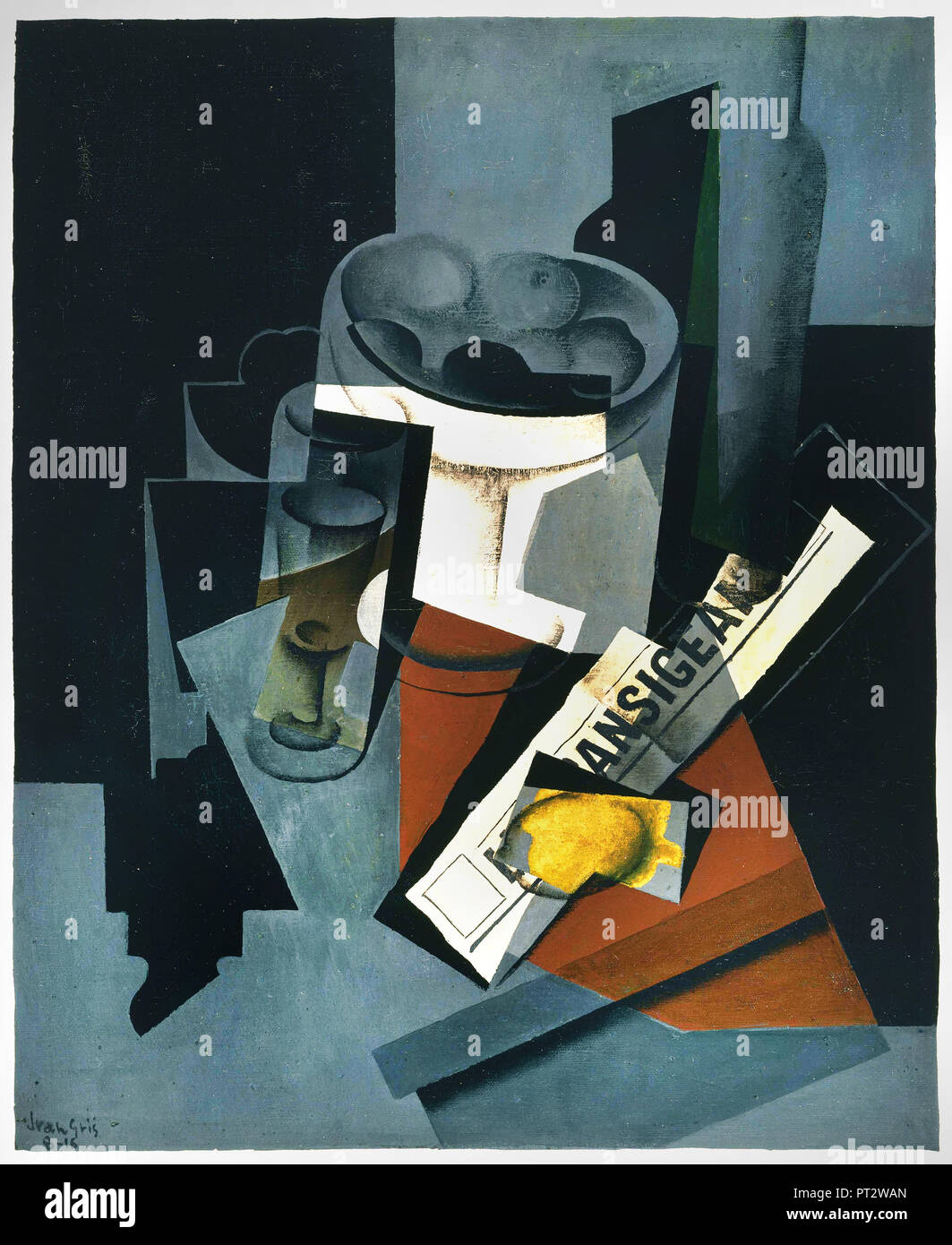 Juan Gris, Still Life with Newspaper 1916 Oil on canvas, Phillips Collection, Washington, D.C., USA. - Stock Image
