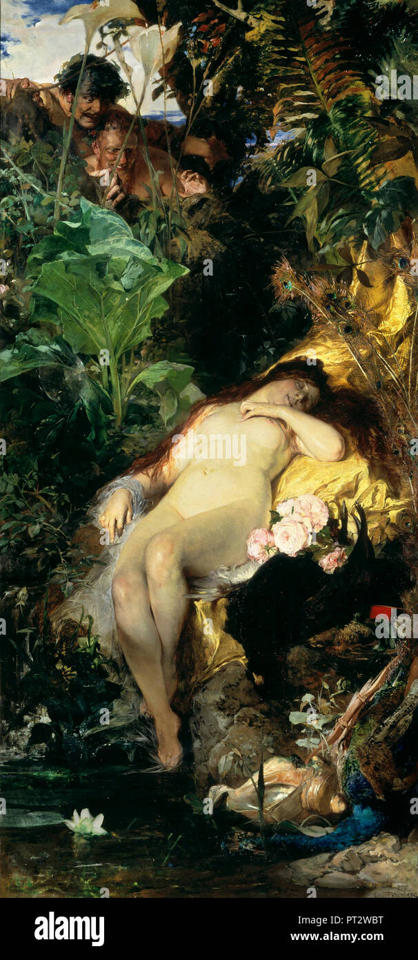 Julius Kronberg, Nymph and Fauns 1875 Oil on canvas, Nationalmuseum, Stockholm, Sweden. - Stock Image