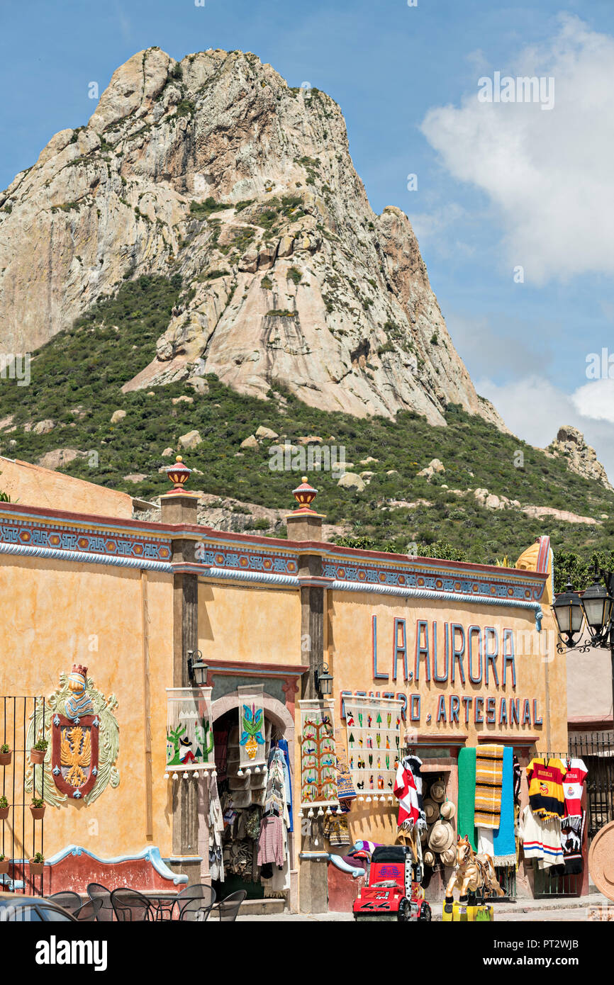 The Massive Monolith Rock Called The Pena De Bernal Towners Over The