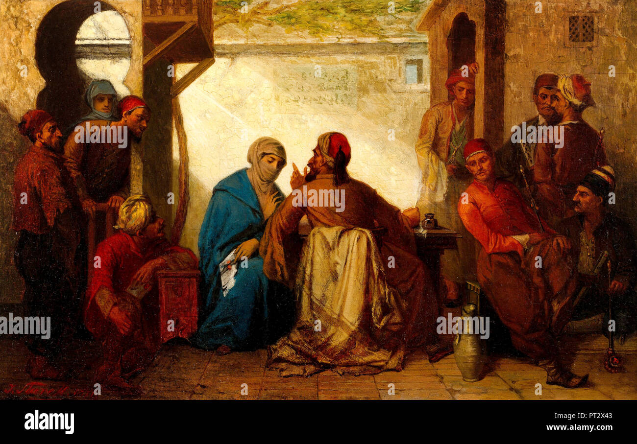 Julius Starck, The Scribe, Late 19th Century, Oil on wood, Pera Museum, Istanbul, Turkey. - Stock Image