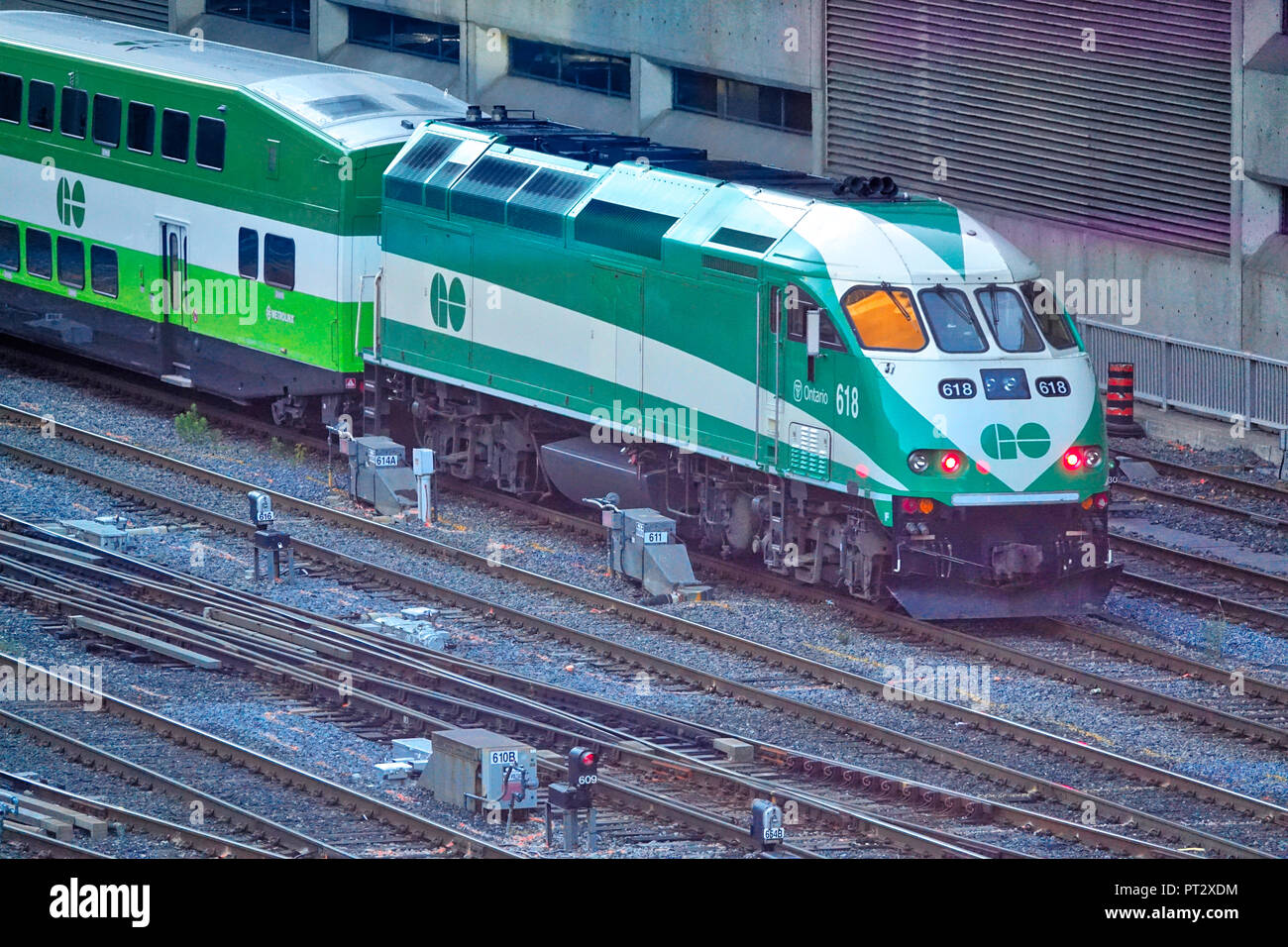 Toronto, Ontario, Canada-June 26, 2018: Toronto Go Train arriving at Union station in downtown - Stock Image