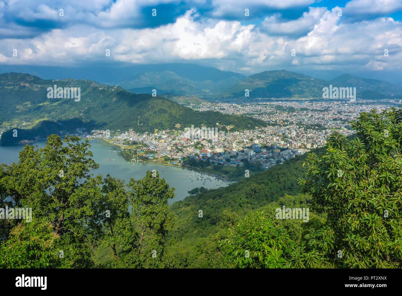 Nepal, Himalaya Mountains, Pokhara Valley, Pokhara, Phewa Lake, - Stock Image