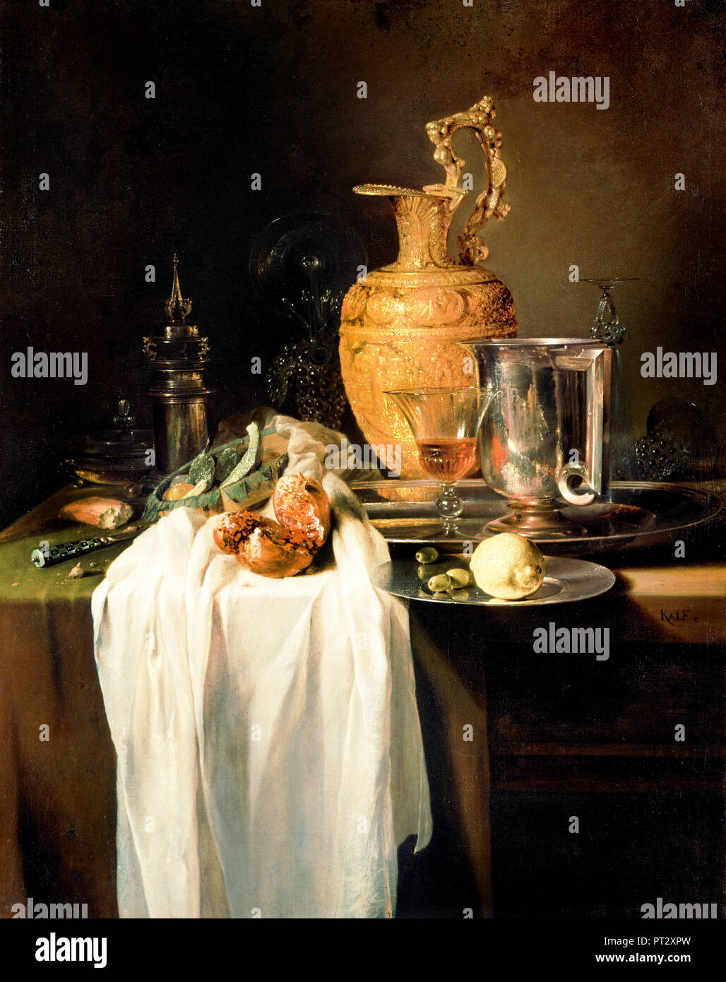Willem Kalf, Still Life with Ewer, Vessels and Pomegranate, Circa 1640, Oil on canvas, The J. Paul Getty Museum, Los Angeles, USA. - Stock Image