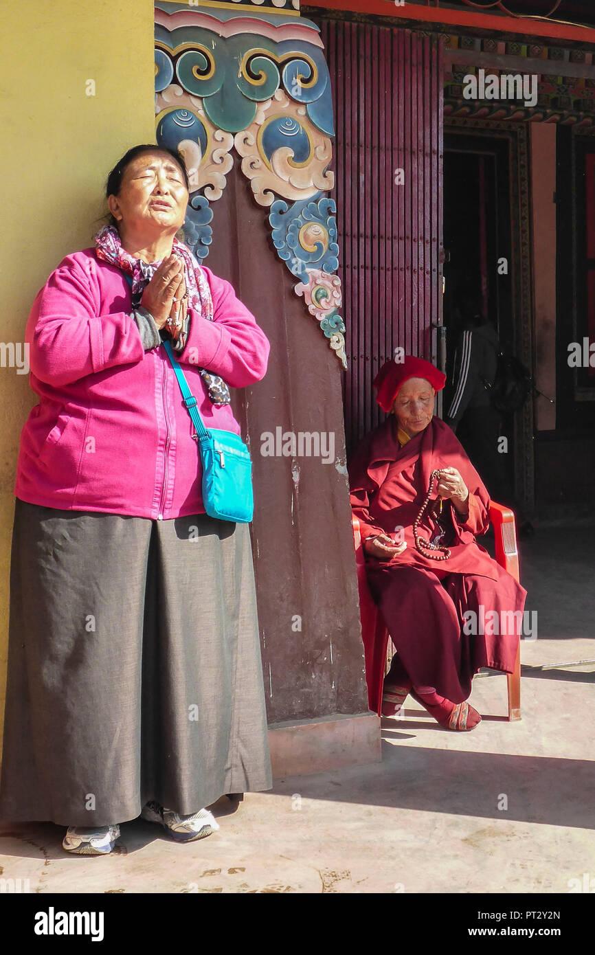 Nepal, Himalaya Mountains, Kathmandu, Capital, Bodnath, Women, Prayer, - Stock Image