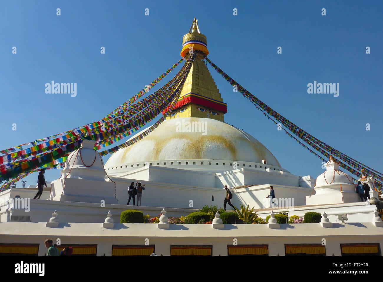 Nepal, Himalaya Mountains, Kathmandu, capital, Bodnath, big stupa, UNESCO World Heritage, tourists, - Stock Image