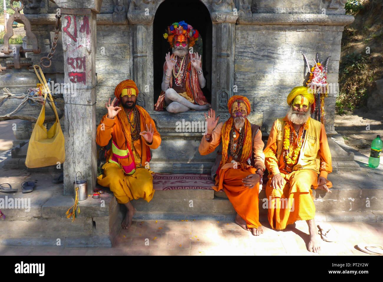Nepal, Himalaya Mountains, Kathmandu, Pashupatinath, Praying Sadhus, - Stock Image