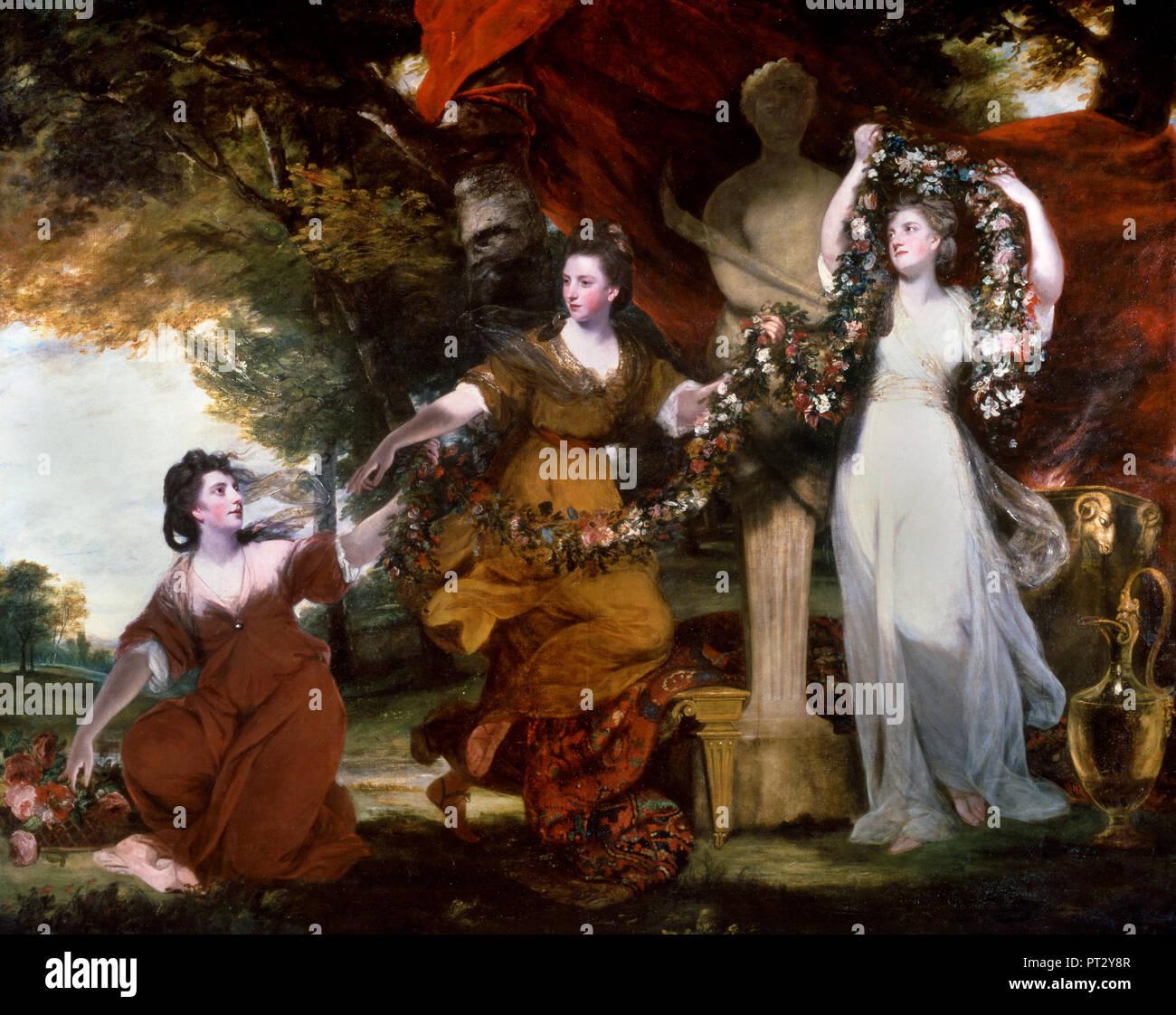 Joshua Reynolds, Three Ladies Adorning a Term of Hymen 1773 Oil on canvas, Tate Britain, London, England. - Stock Image