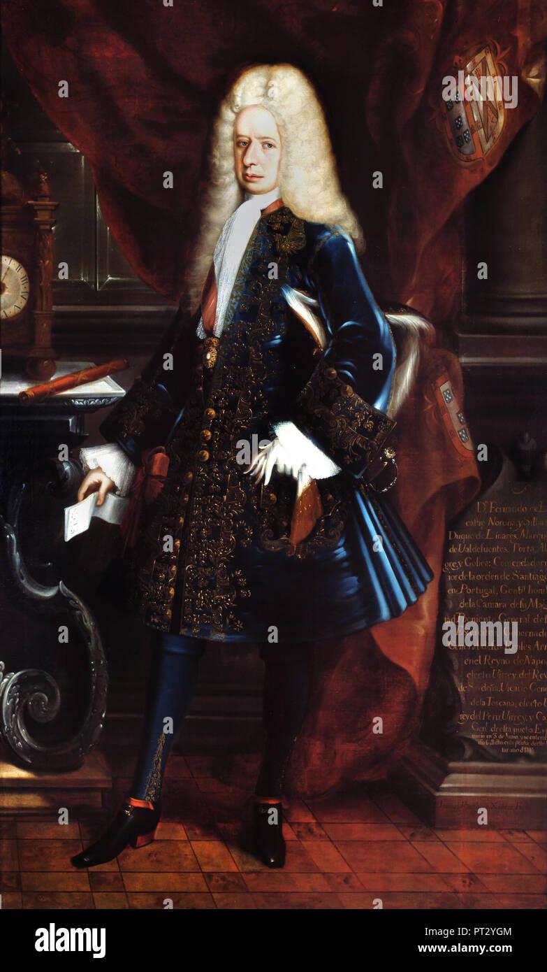 Juan Rodriguez Juarez, Portrait of the Viceroy, the Duke of Linares, Circa 1717 Oil on canvas, Museo Nacional de Arte, Mexico City, Mexico. - Stock Image