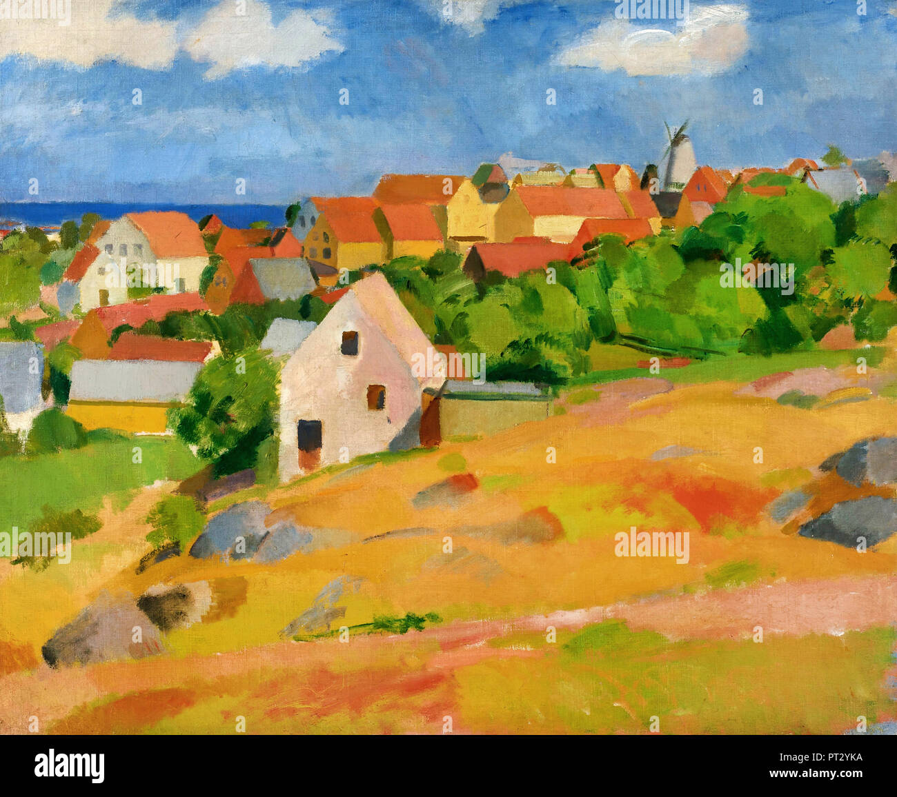 Karl Isakson, View Over Gudhjem 1921 Oil on canvas. - Stock Image