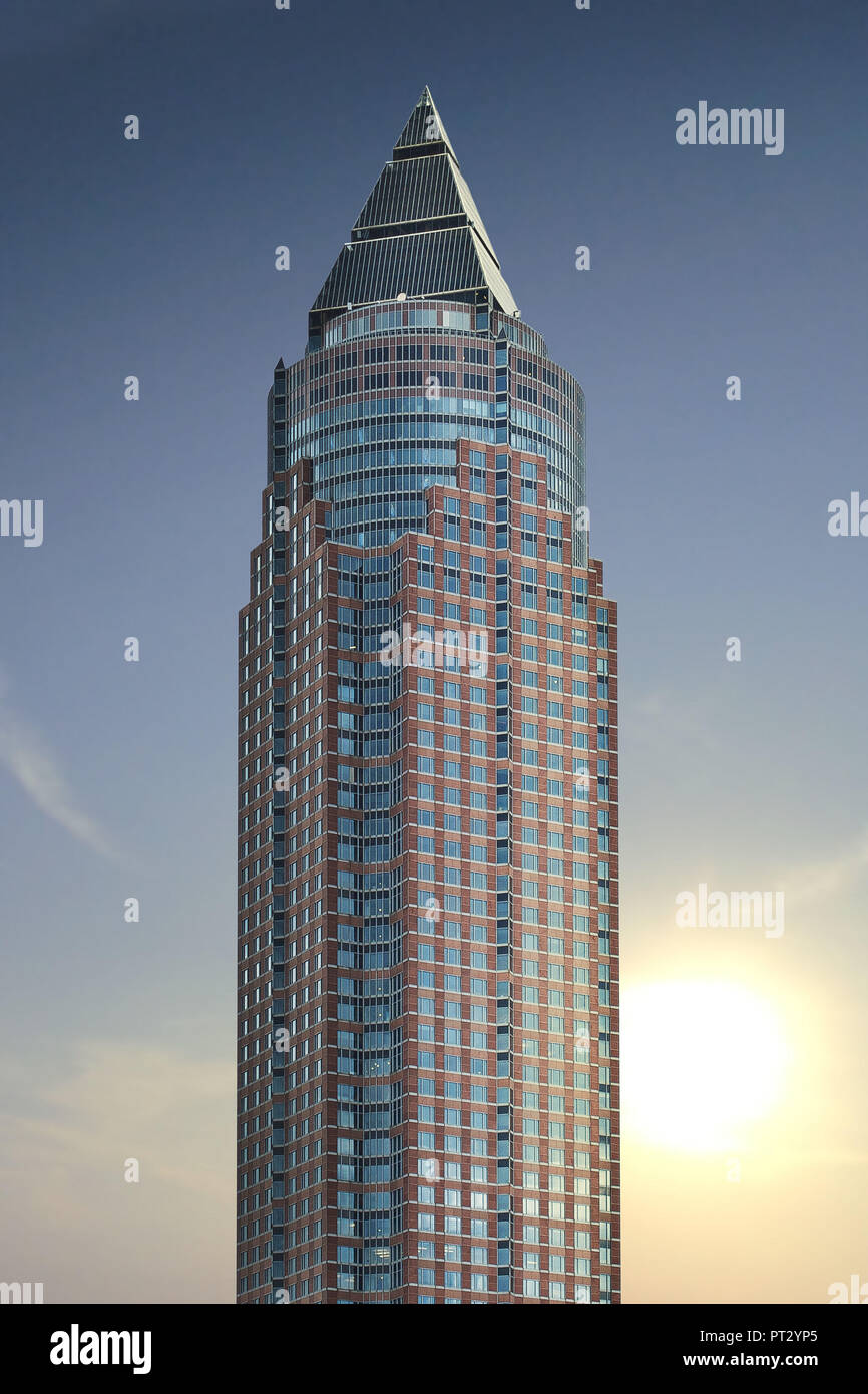 The Messeturm in Frankfurt, Hesse, Germany, Europe Stock Photo