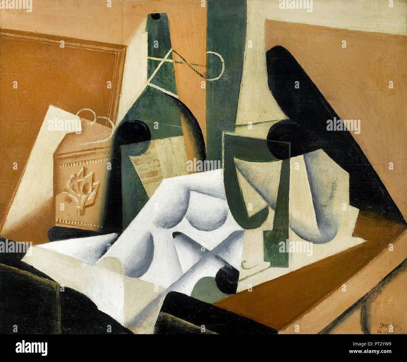 Juan Gris, The White Tablecloth 1912-1916 Oil on panel, Museum of Fine Arts, Houston, TX, USA. - Stock Image