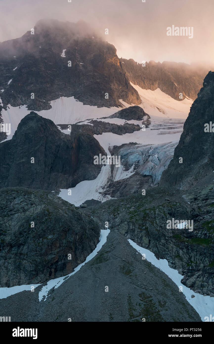 View from the northeast to the Küchelspitze at sunrise, Verwall Group, Tyrol, Austria - Stock Image