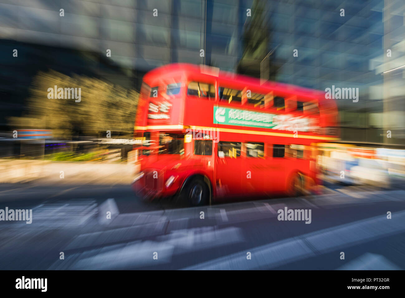 England, London, Red Double Decker Routemaster Bus - Stock Image