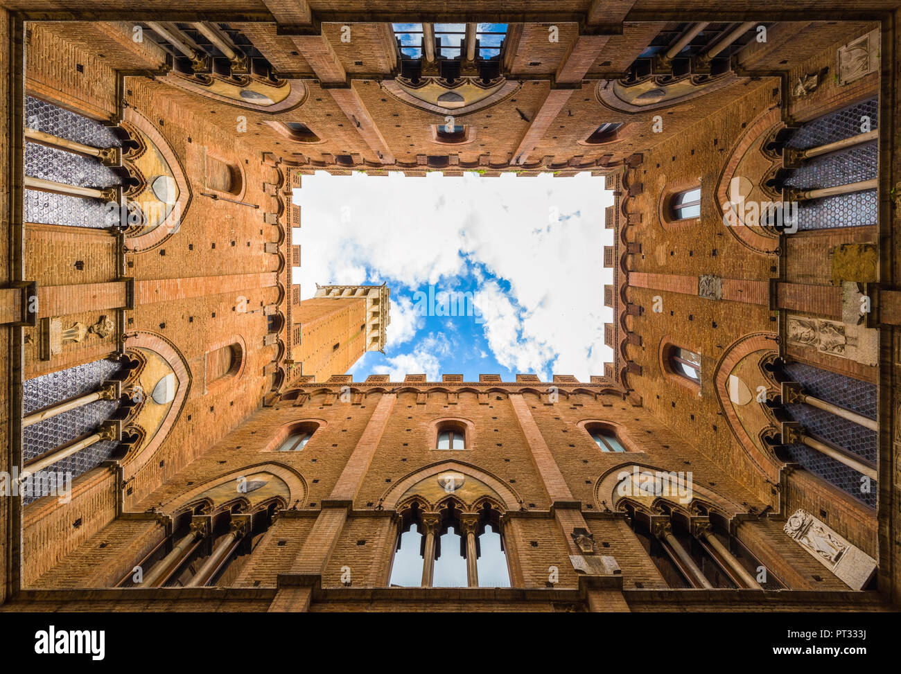 Siena, Tuscany, Italy, Classic view of Palazzo Pubblico with Del Mangia's Tower, - Stock Image