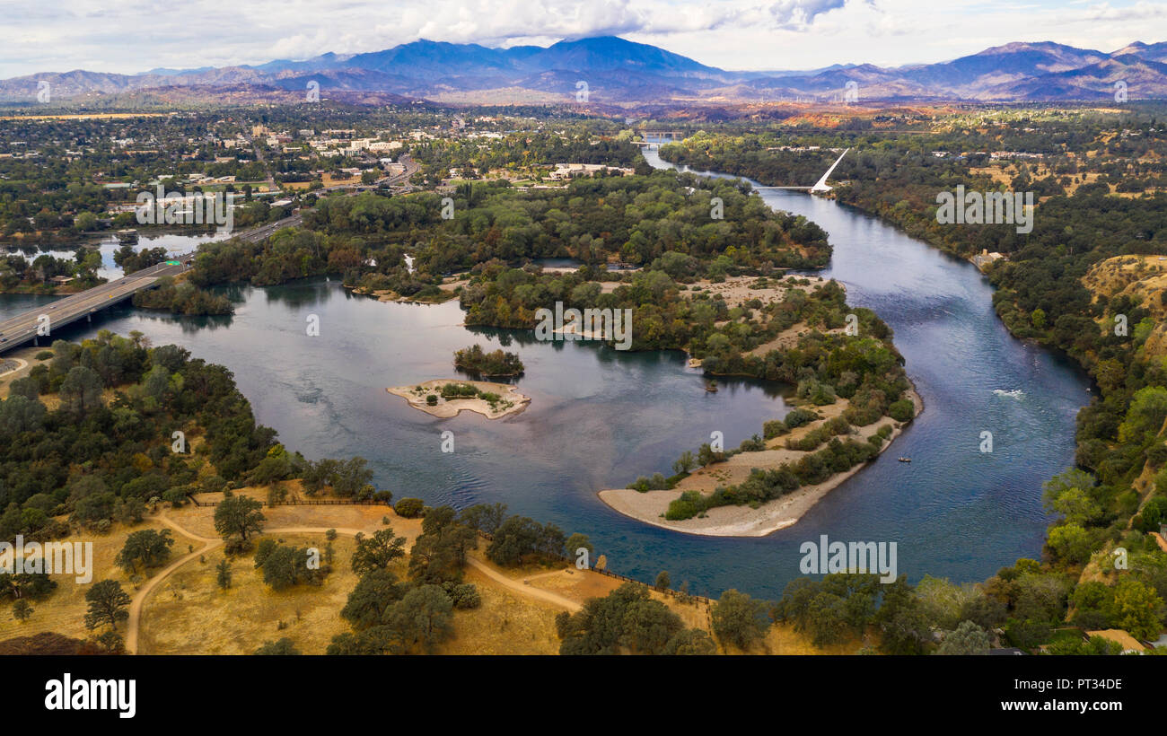 Clear Day to see wildfire damage over the Sacramento River in Redding California USA - Stock Image