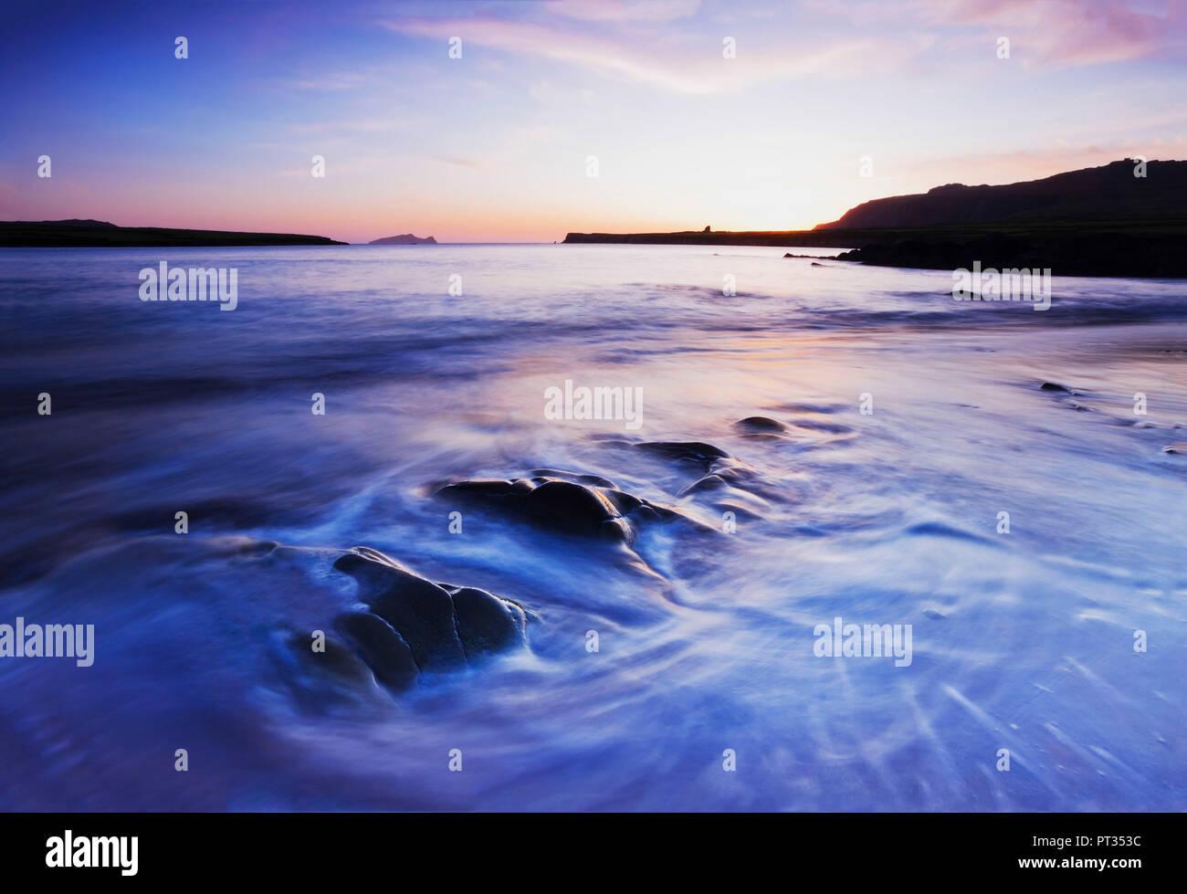 colourful sunset twilight on irish west coast - Stock Image