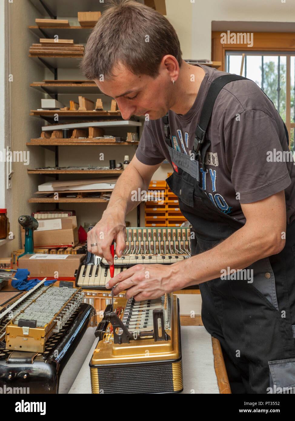 Instrument maker restoring accordion in repair shop, Germany, - Stock Image
