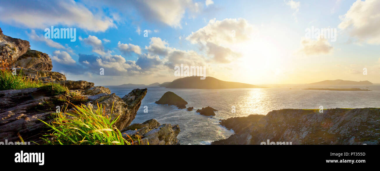 Dunmore Head, scenic irish west coast, looking from dingle peninsula (Europe`s most westerly mainland point) in western ireland towards blasket islands while the sky is clearing up, Stock Photo
