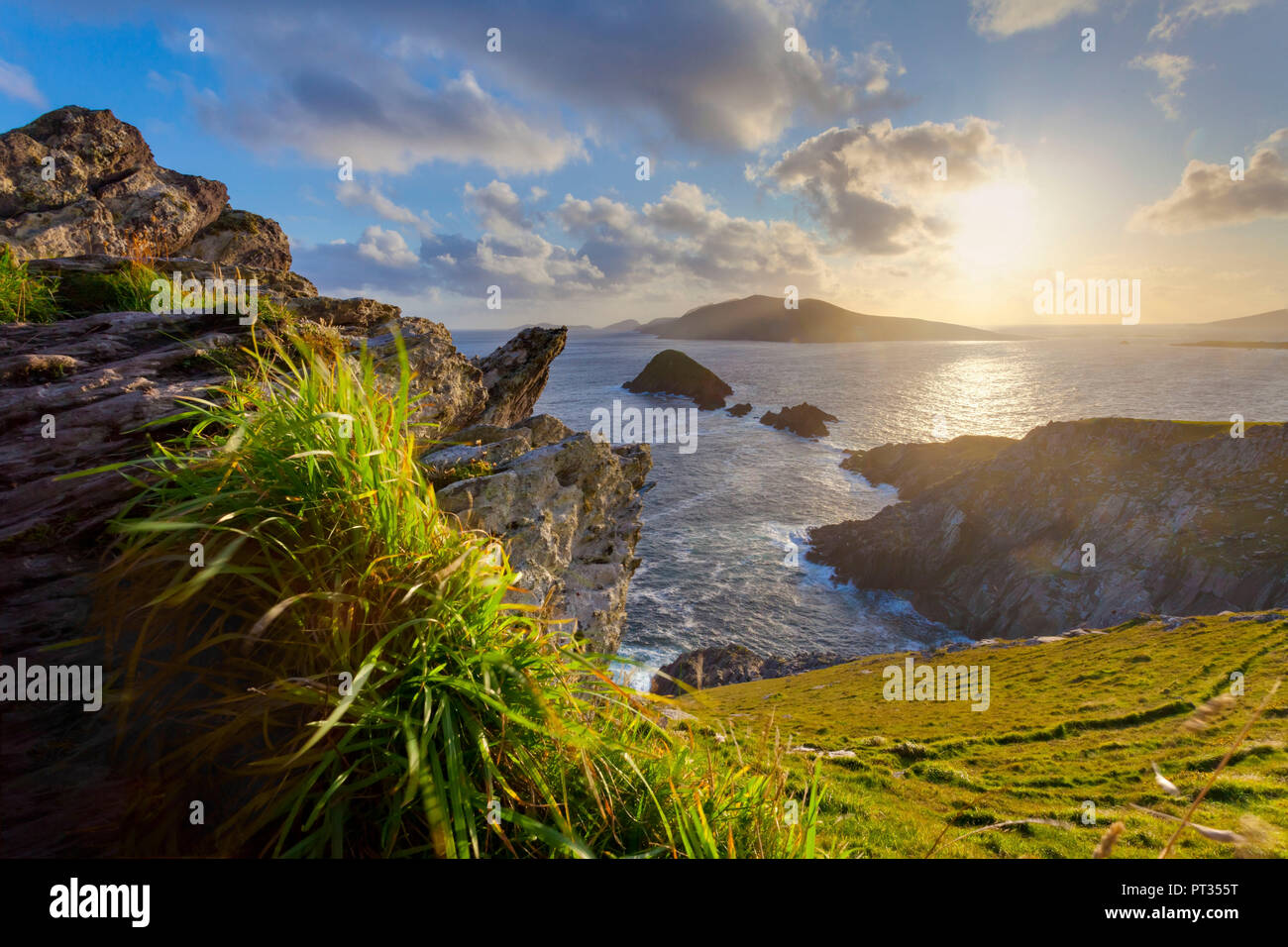 Dunmore Head, scenic irish west coast, looking from dingle peninsula (Europe`s most westerly mainland point)in western ireland towards blasket islands while the sky is clearing up, Stock Photo