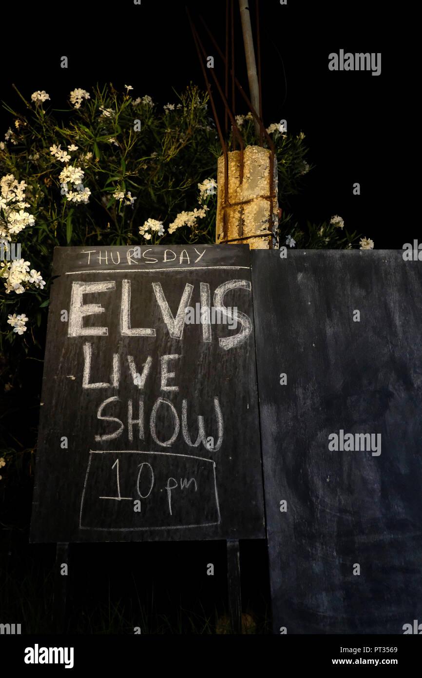 Europe, Greece, Corfu, blackboard, information, Elvis Live Show - Stock Image