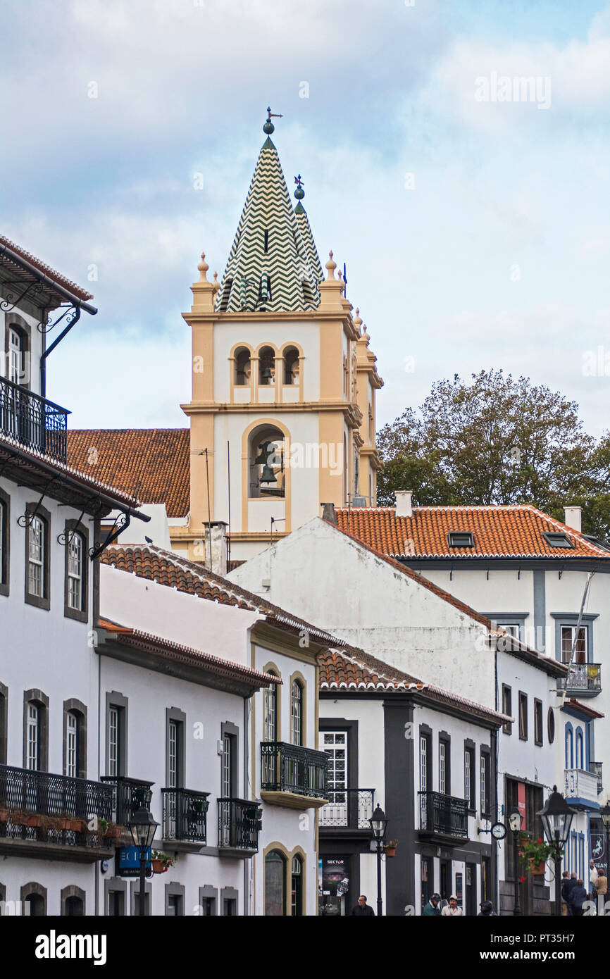 Cathedral of Angra do heroism on Azores island Terceira - Stock Image