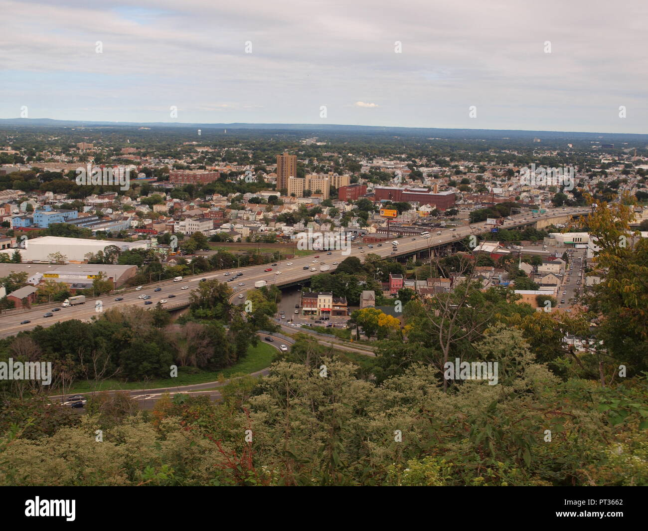 Paterson NJ from the Garrett Mountain reservation overlook in Passaic County, New Jersey. - Stock Image