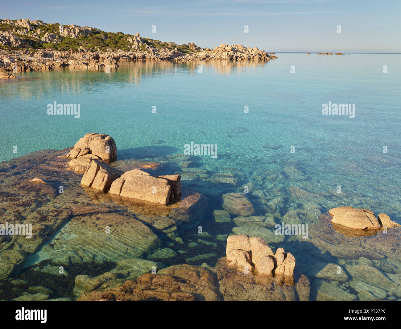Rock formations in the Bruzzi nature reserve, near Pianottoli-Caldarello, Corse du Sud, Corsica, France - Stock Image