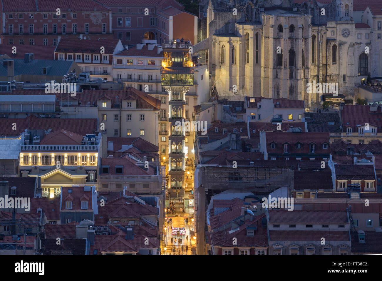 Portugal, Lisbon, Elevador de Santa Justa and ruin of Convento do Carmo, night shot from Castelo de S. Jorge Stock Photo
