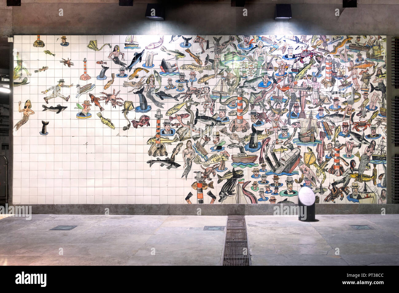 Portugal, Lisbon, Estação do Oriente, artistical designed wall tile pictures in the metro - Stock Image
