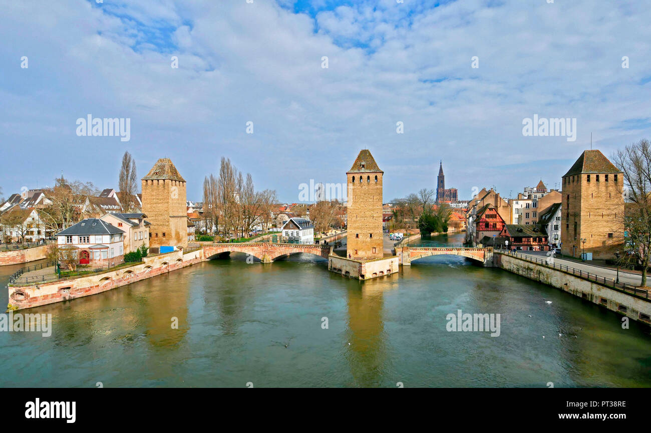 River Ill and Ponts Couverts, Old Town Petite France, Strasbourg, Alsace, France - Stock Image
