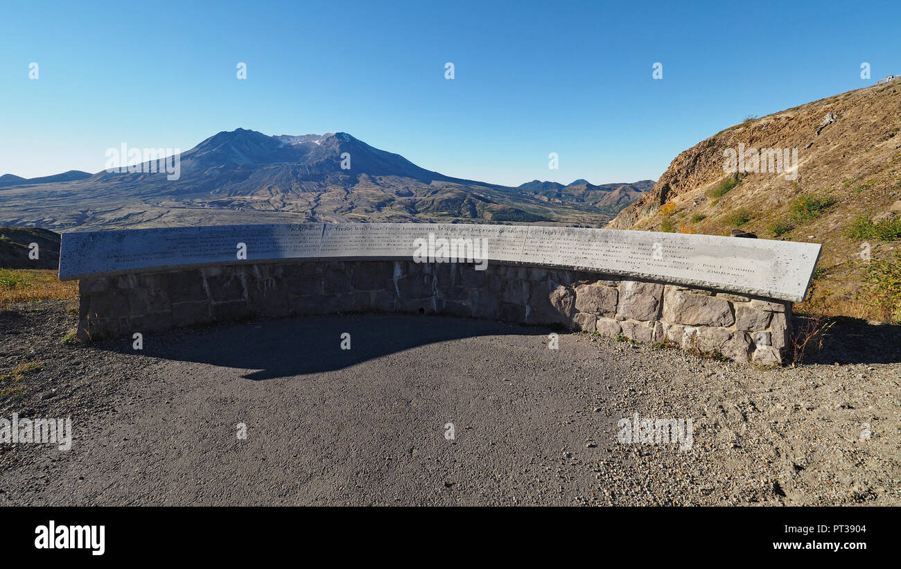 Memorial on Mount Saint Helens to the people killed in the eruption of 1980. Stock Photo