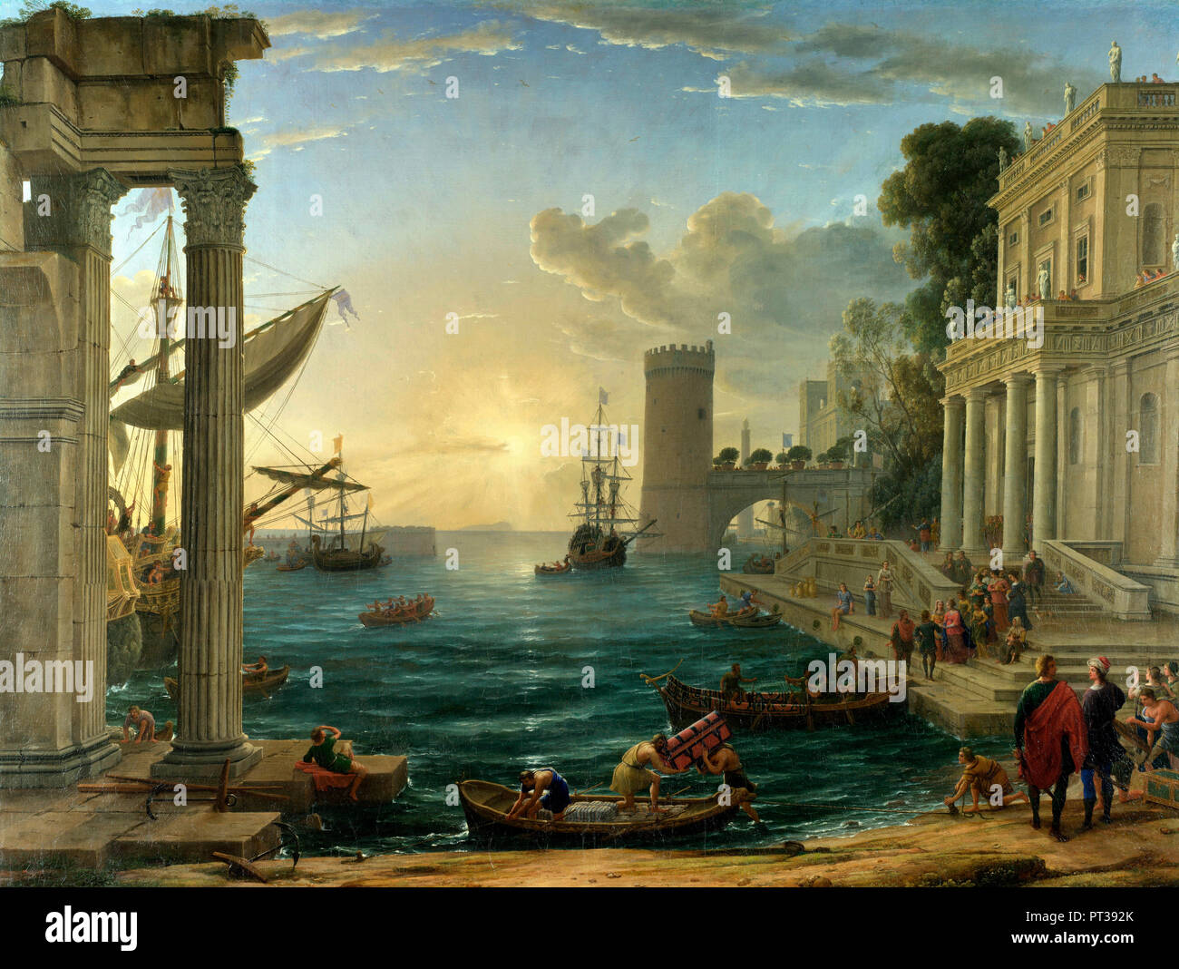 Seaport with the Embarkation of the Queen of Sheba - Claude Lorrain, circa 1648 - Stock Image