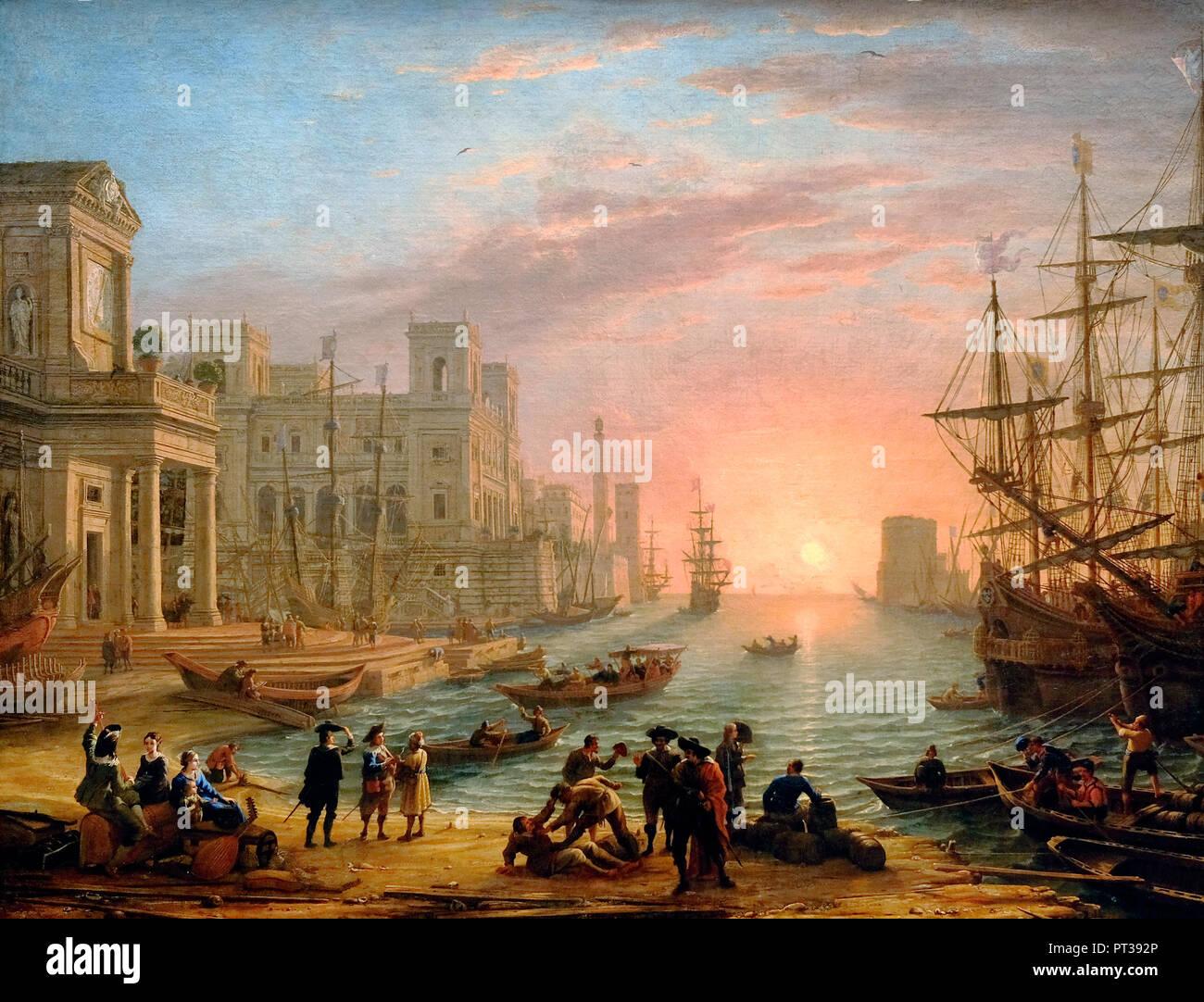 Seaport at sunset - Claude Lorrain, circa 1639 - Stock Image