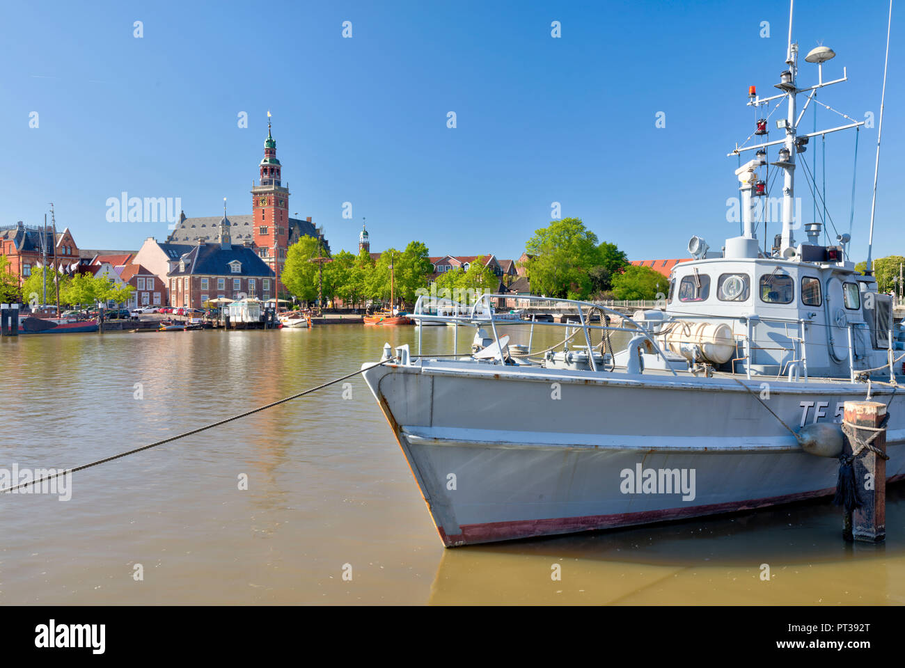 River, Leda, Town Hall Tower, Restaurant Ship, Leer, East Frisia, Lower Saxony, Germany, Europe - Stock Image