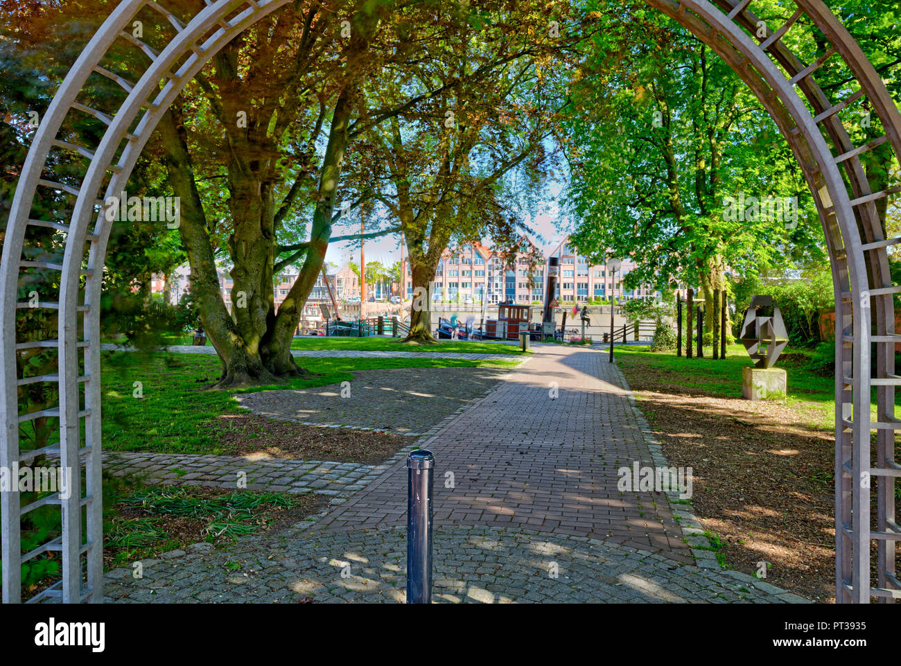 Idyll, Commercial Port, Nesse, Green space, Leer, East Frisia, Lower Saxony, Germany, Europe - Stock Image