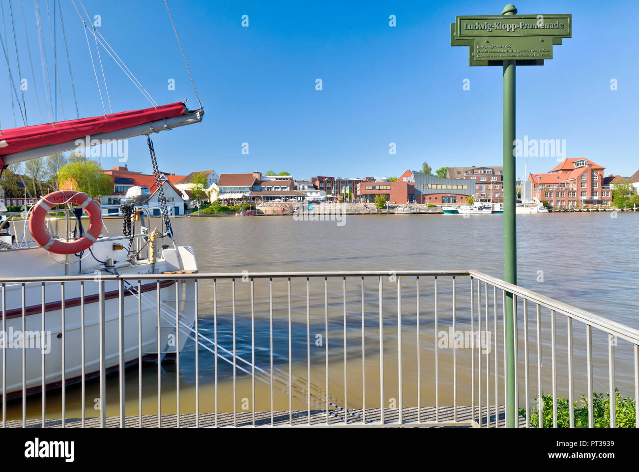 Ludwig Klopp Promenade, River, Leda, Leer, East Frisia, Lower Saxony, Germany, Europe, - Stock Image