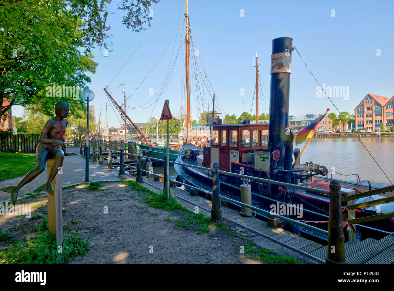 museum harbor, Schipperklootje, local organisation, traditional ships, Leer, East Frisia, Lower Saxony, Germany, Europe, - Stock Image
