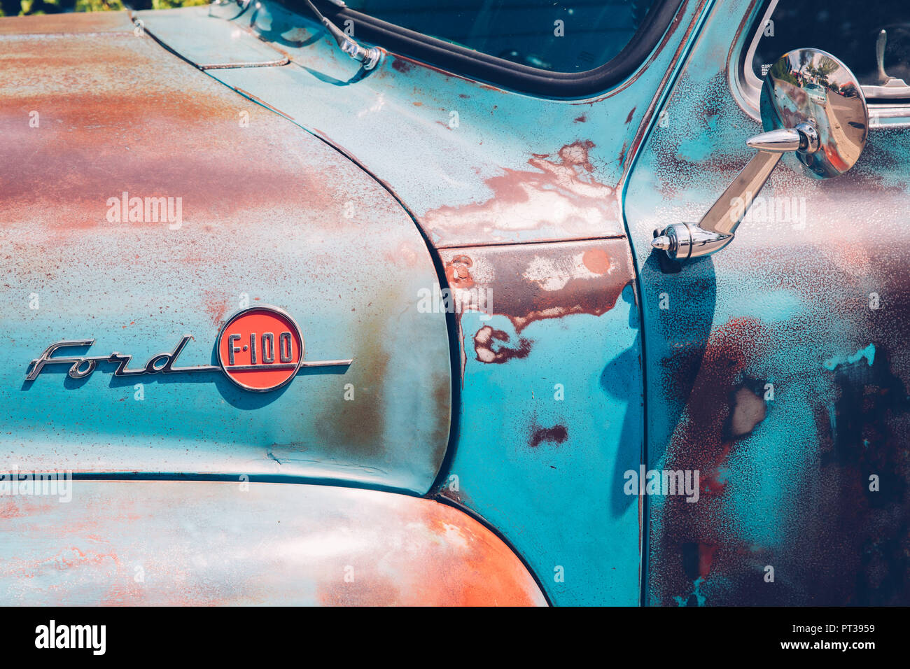 Ford F 100, US Car, Classic Car, Vintage Car, Detail, - Stock Image
